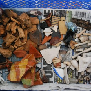 Some of the shards of ceramics found in the Almshouses garden