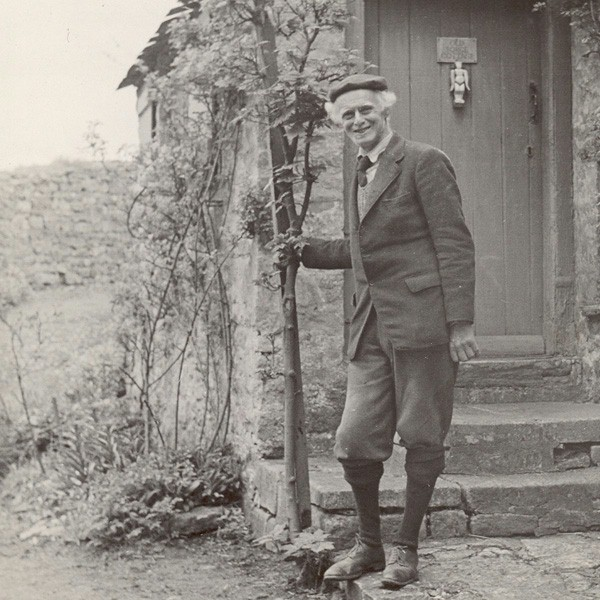 Bernard Sleigh outside Old Forge Cottage | Court Barn Museum