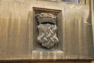 Stone carving of the Noel Arms on The Assembly Room