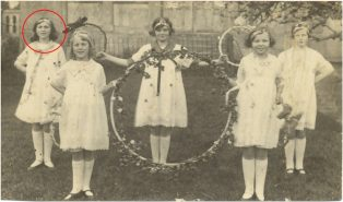 Girls from the Catholic School - The Hoop Dance. Dorothy Meadows circled.