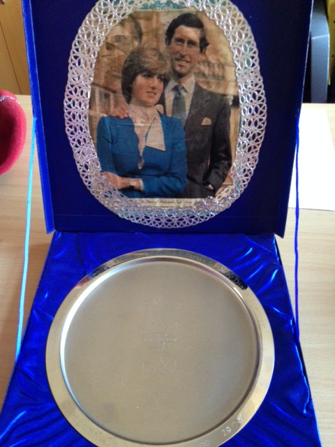 Salver, stainless steel, 29 July 1981