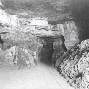 Inside the quarry, with rail tracks