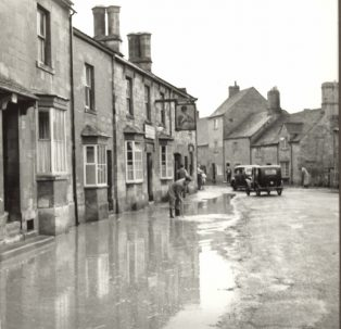 floodwaters outside The Volunteer pub