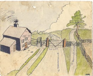 Artistic impression of Whiteway Toll Gate as drawn by George Badham c1940