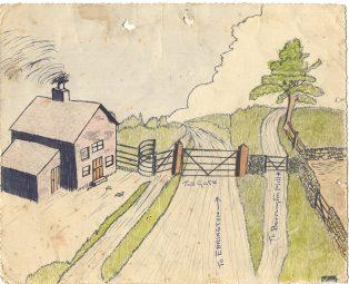 Artistic impression of Whiteway Toll Gate as drawn by George Badham c1940