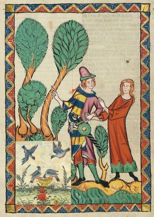 medieval manuscript of two people and some pigeons