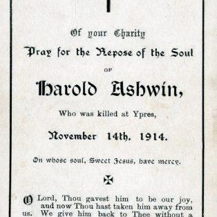 Harold Ashwin - Memorial card