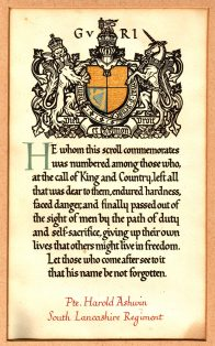 Harold Ashwin - WWI memorial scroll and letter