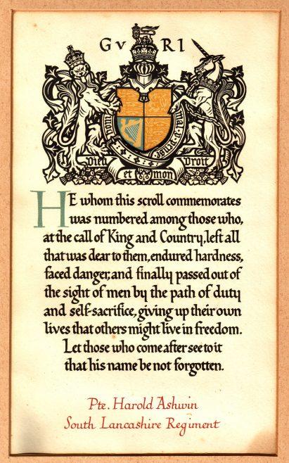 Memorial Scroll for Pte. Harold Ashwin
