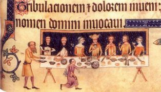 painting of Medieval feast