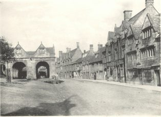 High Street with carts stored in Market Hall