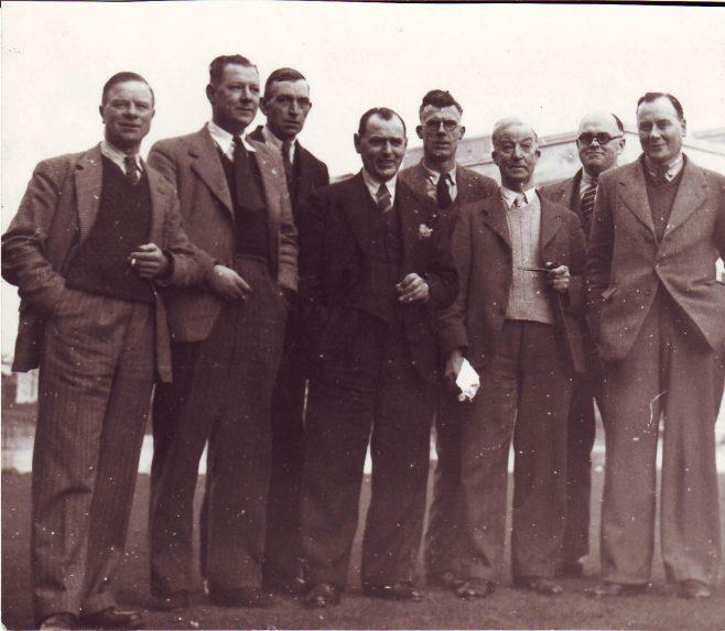 'Upper Slocombe' radio team, l-r: Bill Payne, George Hart, unknown, Bob Arnold, Lionel Ellis, Garnet Keyte, unknown, Charles Gardiner