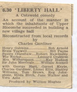 1948 Radio Times extract with cast list of Liberty Hall