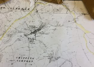 Map c. 1950 showing orchards around Campden and new housing
