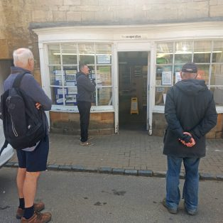 Waiting outside the Co-op, ready to be called in. No queue necessary, everyone knows their place!