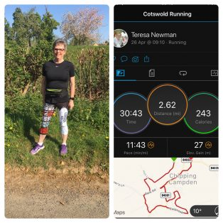 Teresa Newman completed her 26.2 miles in the Cotswolds, London being off-limits. So far she has £758 for Action Medical Research.
