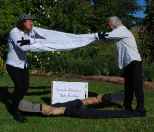 Socially-distanced shin-kicking - Chris Marsh and David Hewitt in the virtual fancy dress competition, Scuttlebrook Wake | Mary Fielding