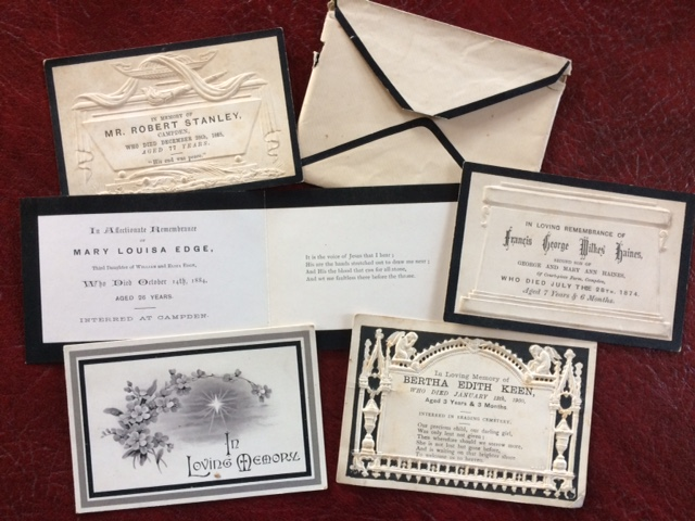 Selection of memorial cards