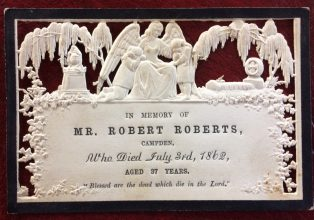 Memorial card for Robert Roberts
