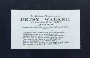 Memorial card for Betsy Walker