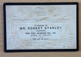 Memorial card for Robert Stanley