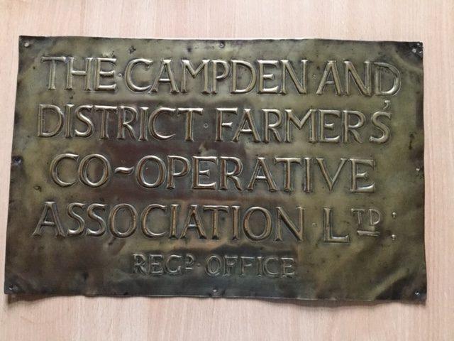 Brass sign for Campden Farmers Co-op