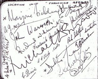 The Franchise Affair location crew autographs