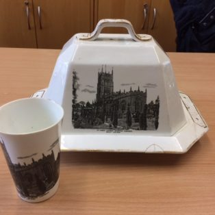 Cheese dish and beaker sold by H. Wixey