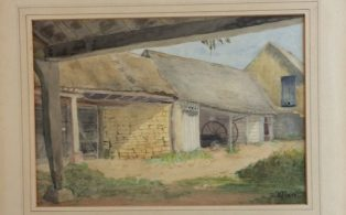 Farm Sheds, watercolour by Florence Mare