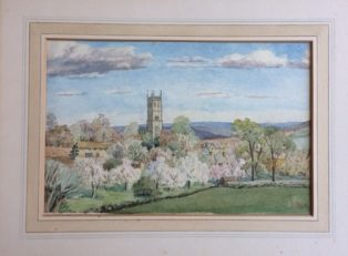 View towards Campden Church, watercolour by Florence Mare