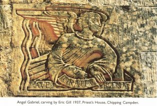 Carving by Eric Gill, showing an angel