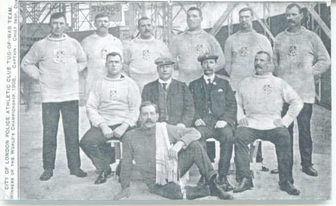Olympic Tug-of-war Team, Fred Merriman seated right