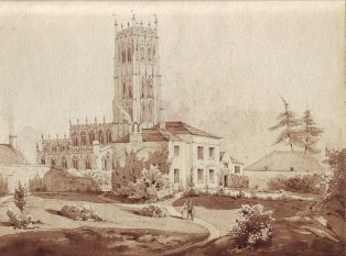 Engraving of Campden Vicarage, with St. James' Church behind