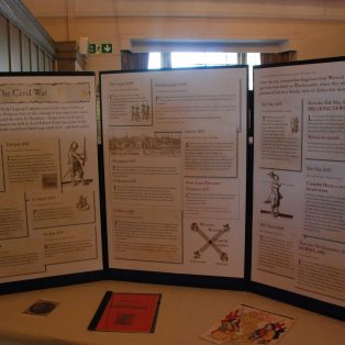 Display boards about The Civil War in Campden