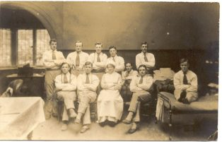 Nurse with soldiers at Norton Hall WWI | Jesse Taylor