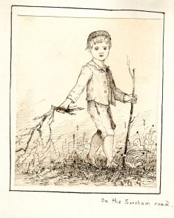 drawing of child carrying a stick