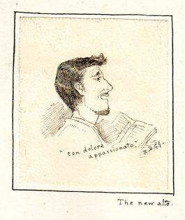 cartoon drawing of man reading by Josephine Griffiths