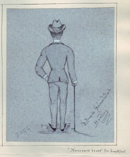 cartoon of rear view of man in Homburg hat