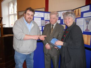 Neil Barlow with Mike Clifford, from the Founders' Company and Carol Jackson, Vice-President of CCHS