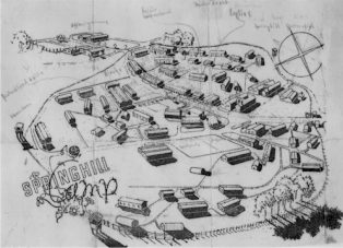 Drawing of layout of Springhill POW Camp