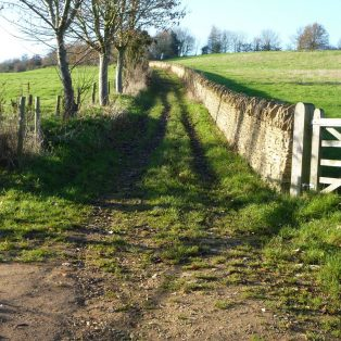 old road, now a farm track, opposite The Baker's Arms in Broad Campden