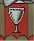 close up of silver chalice in coat of arms