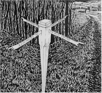 Izod's signpost, sketch | Illustration by David Birch